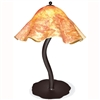 Pictured is our Contemporary style wrought iron Diamondback Table Lamp with Large Glass Shade  hand-made by Mathews & Co.