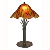Pictured is our Contemporary style wrought iron Buttercup Table Lamp with Large Glass Shade hand-made by Mathews & Co.