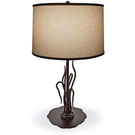 Pictured is our Contemporary style wrought iron River Reed Table Lamp hand-made by Mathews & Co.