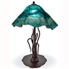 Pictured is our Contemporary style wrought iron River Reed Table Lamp with Large Glass Shade hand-made by Mathews & Co.