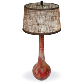 Pictured is our Contemporary style Bulb Table Clay Lamp with Rocky Red Finish hand-made by Mathews & Co.