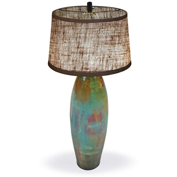 Pictured is our Contemporary style Tuscan Table Clay Lamp with Pacifico Finish hand-made by Mathews & Co.