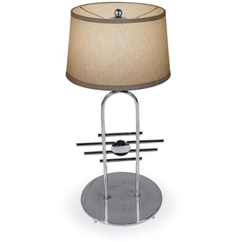 Pictured is our modern style Metropolis Table Lamp hand-made by Mathews & Co.