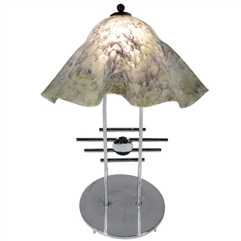 Pictured is our modern style Metropolis Table Lamp with Large Glass Shade hand-made by Mathews & Co.