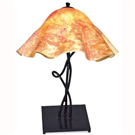 Pictured is our Rustic style Mystic Isle Table Lamp with Large Glass Shade hand-made by Mathews & Co.