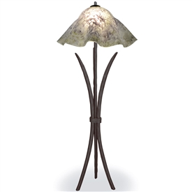 Pictured is our Contemporary style Salisbury Floor Lamp with Glass Shade hand-made by Mathews & Co.
