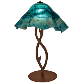 Pictured is our Rustic style wrought iron South Fork Branch Table Lamp with Large Glass Shade hand-made by Mathews & Co.