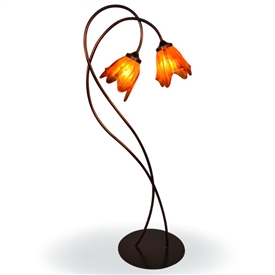 Pictured is our Contemporary style wrought iron Twisted Wild Vine Floor Lamp with Glass Shade hand-made by Mathews & Co.
