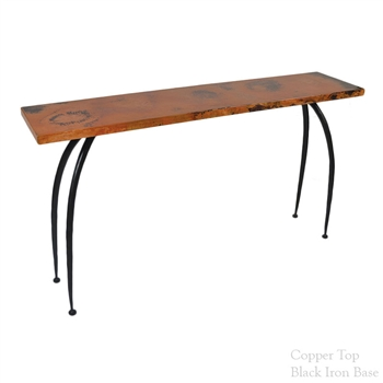 "Pictured here is the Pinnacle Console Table with 60"" x 14"" top hand crafted by skilled artisan blacksmiths."