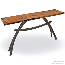 "Pictured here is the Chanal Console Table with 60"" x 14"" Top hand crafted by skilled artisan blacksmiths."