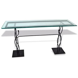 "Pictured here is the Mystic Isle Console Table with 14"" x 60"" Glass Top hand crafted by skilled artisan blacksmiths."