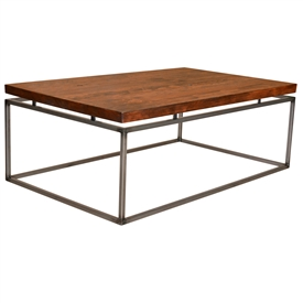 "Pictured here is the American Country Cocktail Table with a 1 3/4"" thick wood top. Clear finish to enhance craftsmanship."