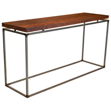 "Pictured here is the American Country Console Table with a 1 3/4"" thick wood top. Clear finish to enhance craftsmanship."