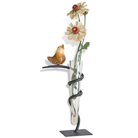 Pictured here is the Glass Vase with Iron Stand and Bird Accent from Mathews and Company