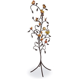 Pictured here is the Tree of Life sculpture with a black iron finish and hand-painted ceramic birds and butterflies.