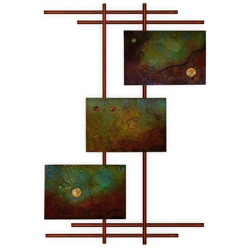 Pictured here is the modern 3 Panel Metro Wall Art with Burnt Orange Frame from Mathews and Company