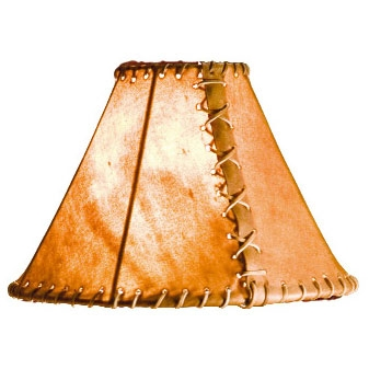 "Pictured is our Rustic style Rawhide 16"" Table Lamp Shade hand-made by Mathews & Co."