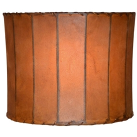 "Pictured is our Rustic style Round Rawhide Leather 18"" Floor Lamp Shade hand-made by Mathews & Co."