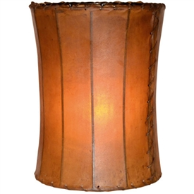 "Pictured is our Rustic style Tall Rawhide Leather 14"" Floor Lamp Shade hand-made by Mathews & Co."