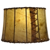 "Pictured is our Rustic style Leather 13"" Drum Table Lamp Shade hand-made by Mathews & Co."