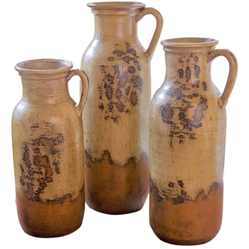 Pictured here is the Ceramic Milk Bottle Jugs Set of 3 from Mathews and Company