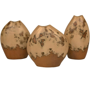 Pictured here is the Set of 3 Abstract Ceramic Urns from Mathews and Company