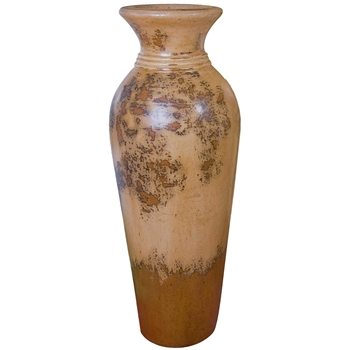 Pictured here is the handcrafted Bellagio Medium Ceramic Vase in our Aged Cream finish which measures 14 inches in diameter by 38 inches high.