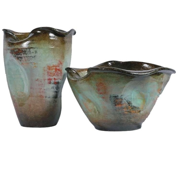 Pictured here are the handcrafted Oakley Ceramic Bowls in our Pacifico finish, sold as a set of 2 - small and large.