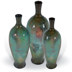 Pictured here are the handcrafted Cherry Hill Ceramic Vases in our pacifico finish, sold as a set of 3 - small, medium and large.