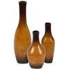 Pictured here are the handcrafted Square Base Ceramic Bottles in aged brown finish, sold as a set of 3 - small, medium and large.