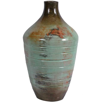 Pictured here is the handcrafted Ribbed Ceramic Vase in our Pacifico finish which measures 13 inches in diameter by 21 inches high.
