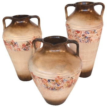 Pictured here is the handcrafted Sterling ceramic urns in our poppycock finish, sold as a set of 3 - small, medium and large.