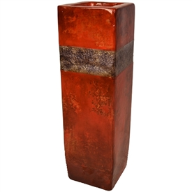 Pictured here is the handcrafted Austin Square Vase with Zinc Wrap which measures 9 inches long by 9 inches wide by 30 inches high.