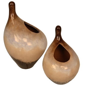 Pictured here is the handcrafted Pike Ceramic Pots in our sykes finish, sold as a set of 2 - small and large.