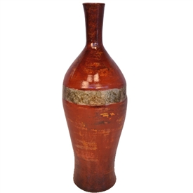 Pictured here is the handcrafted Austin Flower Bottle with Zinc Wrap which measures 8 inches in diameter by 24 inches high.