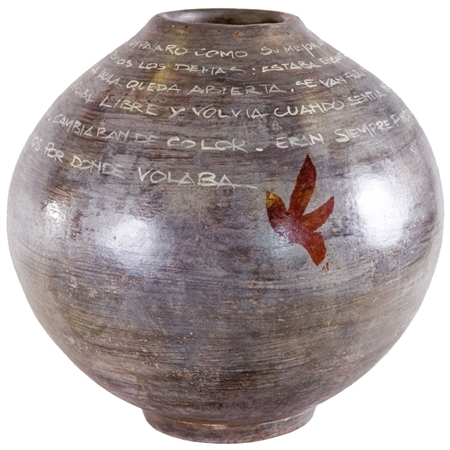 Pictured here is the handcrafted Modern Ceramic Flower Pot  which measures 15 inches in diameter by 24 inches high.