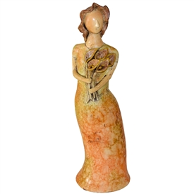 Pictured here is the handcrafted Lady with Flowers Ceramic Sculpture which measures 8 inches long by 6 inches wide by 24 inches high.
