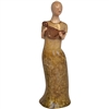 Pictured here is the handcrafted ceramic Lady with Harp sculpture which measures 7 inches long by 6 inches wide by 22 inches high.