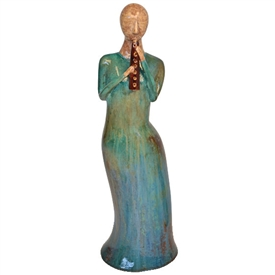 Pictured here is the handcrafted ceramic Lady with Flute sculpture which measures 8 inches long by 6 inches wide by 23 inches high.
