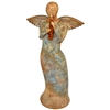 Pictured here is the handcrafted ceramic Musical Angel with Flute sculpture which measures 10 inches long by 6 inches wide by 23 inches high.