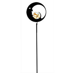 Wrought Iron Moon - Marble Garden Stake