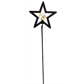 Wrought Iron Star - Marble Garden Stake