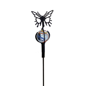 Wrought Iron Butterfly - Marble Garden Stake