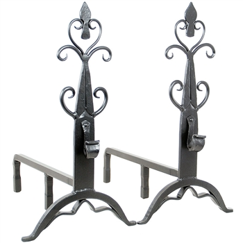 Pictured here is the Minuteman manufactured Wrought Iron Cathedral Andirons  that measures 11-inch x 21.5-inch x 20-inch