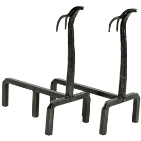 Pictured here is the Minuteman manufactured Wrought Iron Deer Andirons that measures 9-inch x 18.5-inch x 15-inch