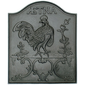 Pictured here is the Aetna Iron Fireback that measures 22-inch x 26-inch