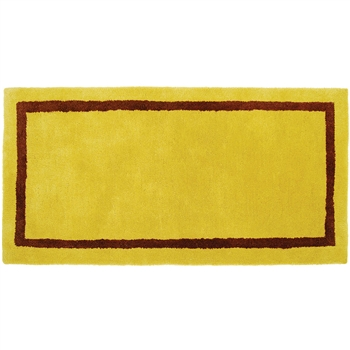 Pictured is the Minuteman Mustard Rectangular Hearth Rug that measures 44-inch x 22-inch and meets CPSC Standard FF1-70 for flammability of carpets.
