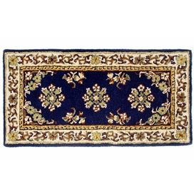 Pictured is the 44 inch x 22 inch Blue Rectangular Fire Resistant Wool Hearth Rug manufactured in America by Minuteman.