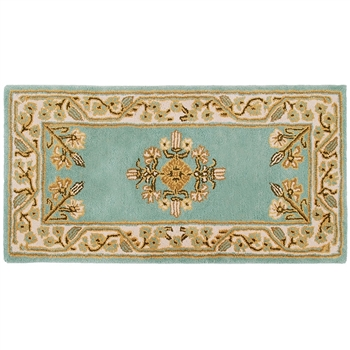 Pictured is the Minuteman Wintergreen Jardin Rectangular Hearth Rug that measures 44-inch x 22-inch and meets CPSC Standard FF1-70 for flammability of carpets.
