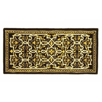 Pictured is the 56 inch x 26 inch Tabriz Deep Olive Wool Rectangular Hearth Rug manufactured in America by Minuteman.